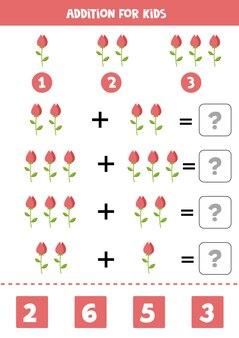 Aggiunta con fiore rosa simpatico cartone animato gioco di matematica educativo per bambini