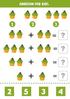 Inoltre con simpatico cupcake di halloween decorato con ragno. gioco di matematica educativo per bambini. imparare ad aggiungere oggetti.