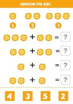 Aggiunta con simpatico sole kawaii. gioco di matematica educativo per bambini.