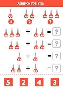 Aggiunta con simpatiche forbici rosse. gioco di matematica educativo per bambini.
