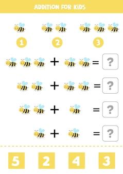Aggiunta con simpatica ape gialla. gioco di matematica educativo per bambini.