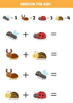 Aggiunta con diversi insetti carini. gioco di matematica educativo per bambini.