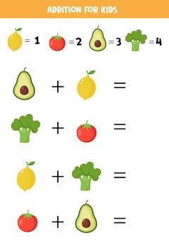Aggiunta con diversi tipi di frutta e verdura. gioco di matematica educativo per bambini.