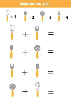 Aggiunta con diverse posate da cucina. gioco di matematica educativo per bambini.