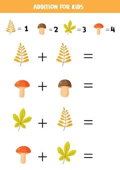 Aggiunta con diversi funghi e foglie. gioco di matematica educativo per bambini.