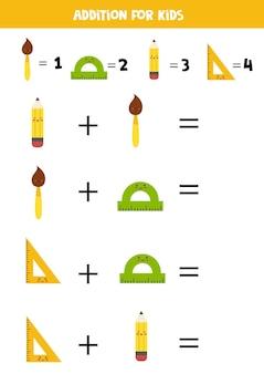 Aggiunta con materiale scolastico diverso. gioco di matematica educativo per bambini.
