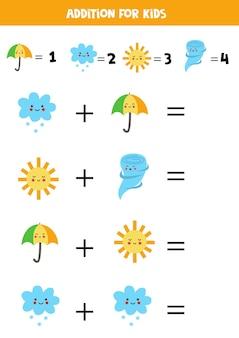 Aggiunta con diversi elementi meteorologici. gioco di matematica educativo per bambini.