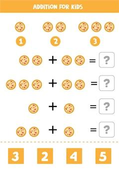 Aggiunta con pizza tonda. gioco di matematica educativo per bambini.