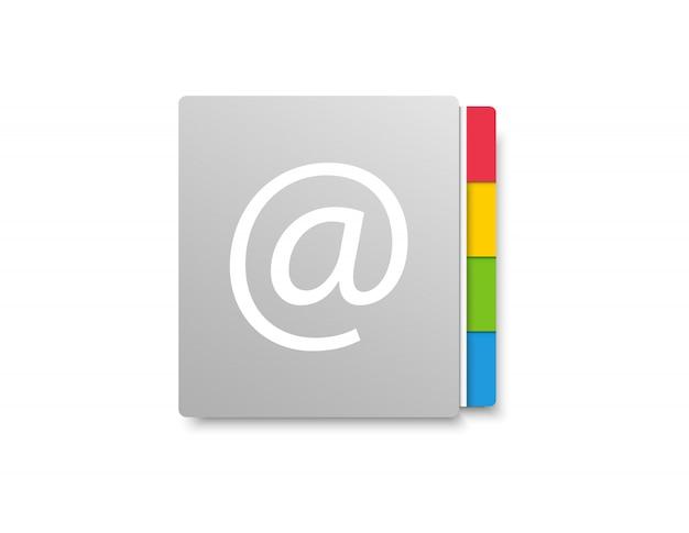 Rubrica. libro di posta elettronica. icona per l'applicazione sul telefono o sul laptop.