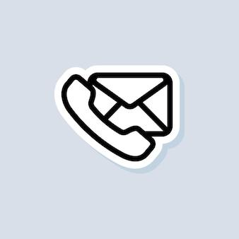 Adesivo della rubrica. icone di posta elettronica e messaggistica. busta e telefono. vettore su sfondo isolato. env 10.