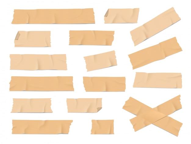 Pezzi di nastro adesivo e adesivo realistici