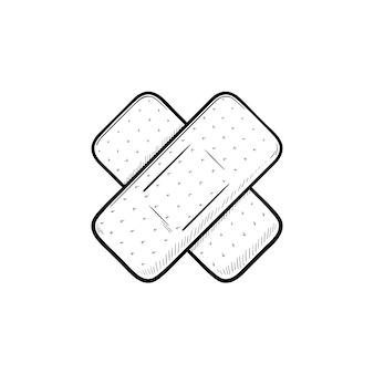 Icona di doodle di contorni disegnati a mano in gesso adesivo. benda adesiva come illustrazione di schizzo di vettore di concetto di pronto soccorso medico per stampa, web, mobile e infografica isolato su priorità bassa bianca.