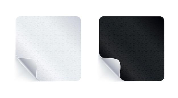 Adesivi adesivi. etichette adesive vuote realistiche o cartellini dei prezzi con ombra.