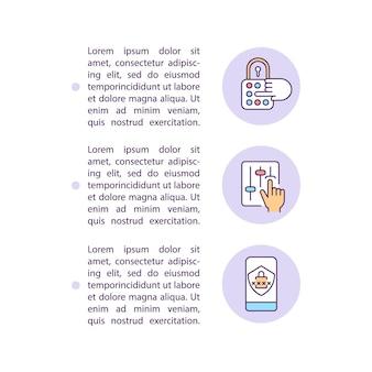 Regolazione delle icone della linea del concetto delle impostazioni sulla privacy dell'account con testo