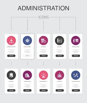 Amministrazione infografica 10 passaggi ui design.management, pianificazione, presentazione, orporation semplici icone