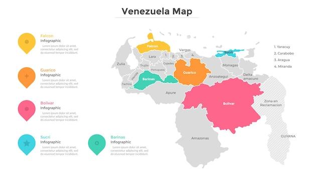 Divisioni amministrative del venezuela. mappa del paese divisa in regioni con confini moderni. indicazione della posizione geografica. modello di progettazione infografica. illustrazione vettoriale per brochure turistica.