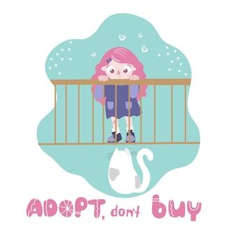 Adotta, non comprare. gatto in una gabbia guardando la ragazza. giornata internazionale degli animali senza dimora.