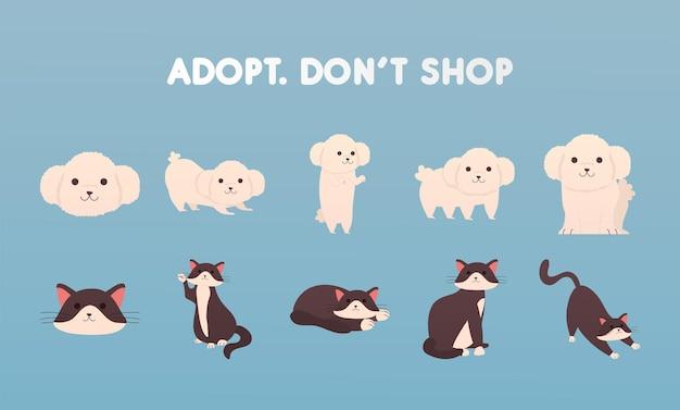 Adottare non acquistare lettere con un gruppo di cani e gatti illustrazione