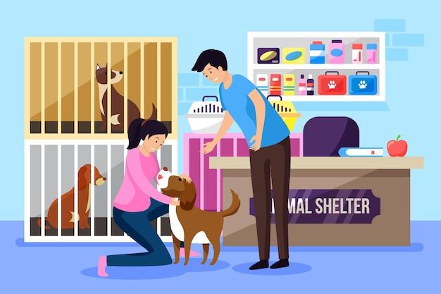 Adotta un'illustrazione di concetto dell'animale domestico