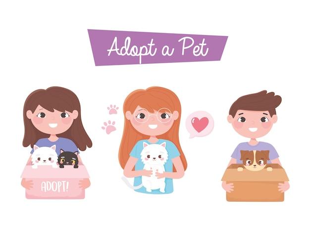 Adotta un animale domestico, un ragazzo felice e delle ragazze con l'illustrazione del fumetto del gatto e del cane