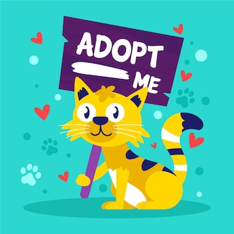 Adotta un'illustrazione dell'animale domestico con il gatto