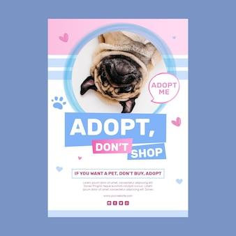 Adotta un modello di poster per animali domestici non fare acquisti