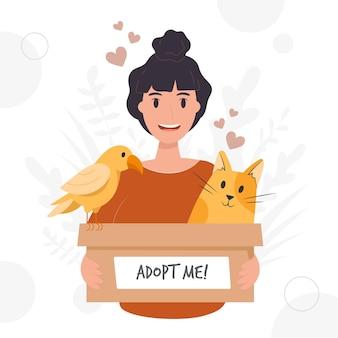 Adotta un animale domestico con donna e animali Vettore Premium