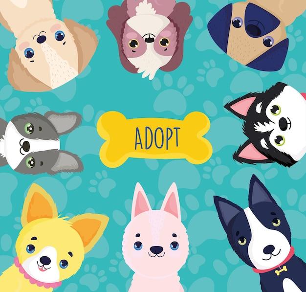 Adotta animali domestici cani cartone animato