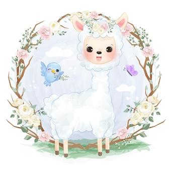 Adorabile alpaca che gioca nell'illustrazione del giardino in acquerello