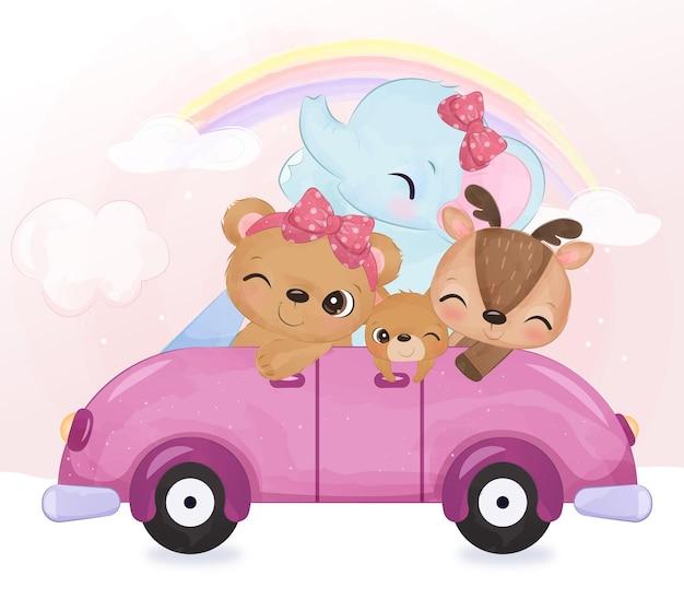 Adorabili cuccioli di animali che cavalcano insieme nell'illustrazione dell'acquerello