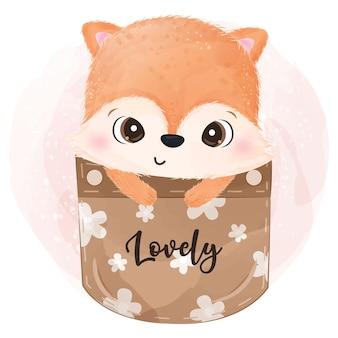Illustrazione adorabile della volpe del bambino in acquerello