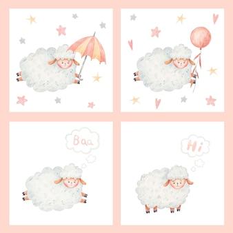 Adorabili pecorelle, pecore carine, illustrazione su sfondo bianco, illustrazione infantile, design infantile