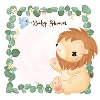 Decorazione adorabile dell'acquazzone di bambino nell'illustrazione dell'acquerello