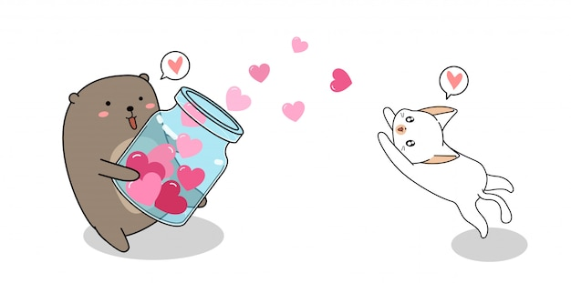 L'orso adorabile sta diffondendo i cuori al piccolo gatto