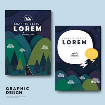 Adorabile modello di brochure design con montagne intorno