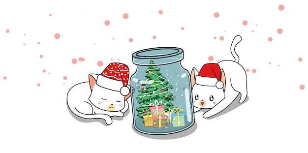 Personaggi adorabili di gatto e giorno di natale in bottiglia Vettore Premium
