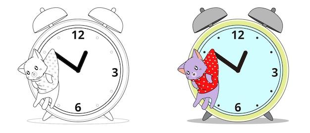 Adorabile gatto e orologio da colorare dei cartoni animati per i bambini