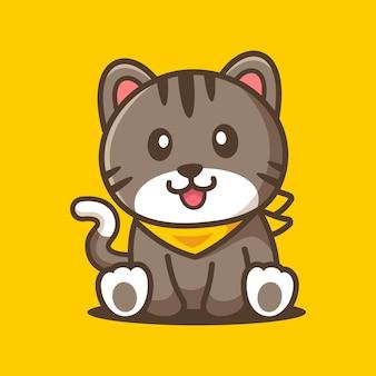 Adorabile gatto seduto personaggio dei cartoni animati