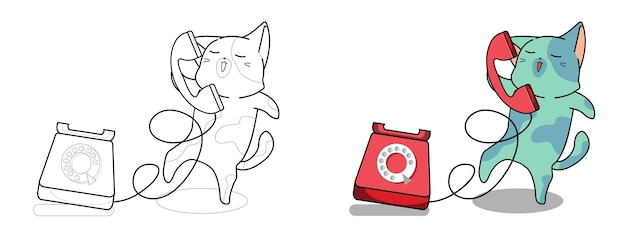 Pagina da colorare di cartoni animati adorabile gatto e telefono per bambini