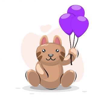 Gatto adorabile con fumetto palloncino