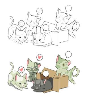 Pagina da colorare di gatti adorabili del fumetto per i bambini