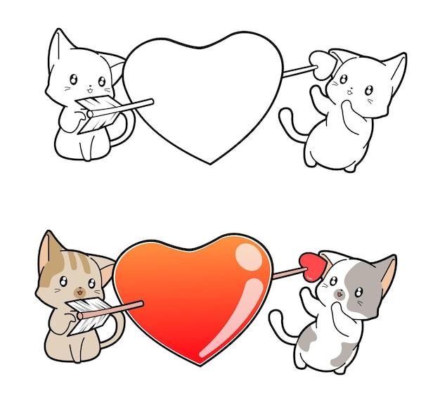 Pagina da colorare di gatti adorabili e cuore del fumetto