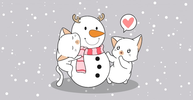 Adorable cats is hugging snowman