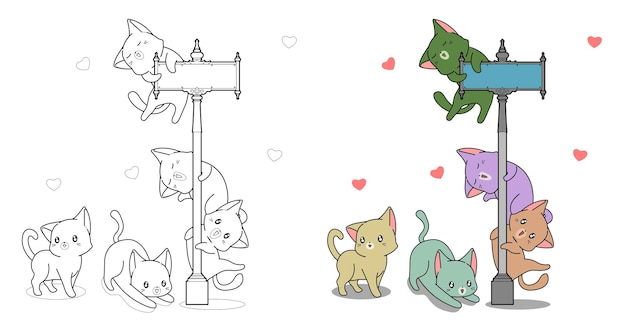 Gatti adorabili e pagina da colorare del fumetto del pilastro per i bambini