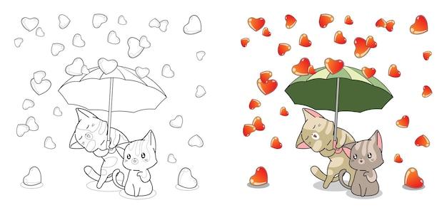 Pagina da colorare di cartoni animati adorabili gatti e pioggia d'amore per bambini