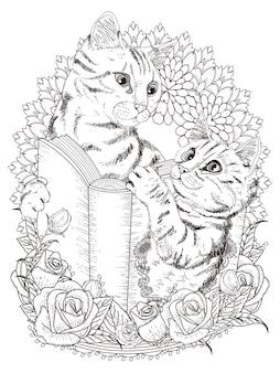 Adorabili gatti con libro e decorazioni floreali da colorare per adulti