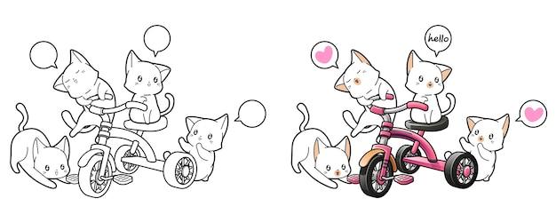 Gatti adorabili con la pagina da colorare del fumetto del triciclo per i bambini