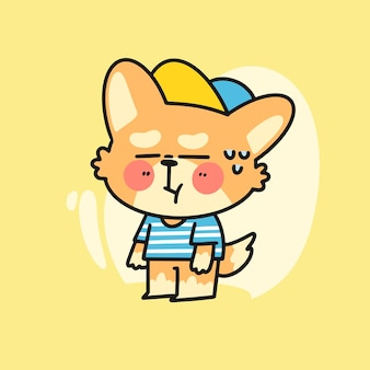 Adorabile piccolo personaggio corgi confuso doodle illustrazione