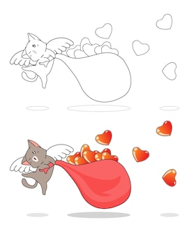 Adorabile cupido gatto e cuori cartoon facilmente pagina da colorare