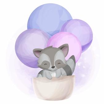 Procione e pallone animali adorabili svegli